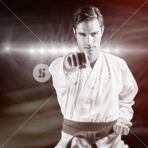 Composite image of portrait of fighter performing karate stance