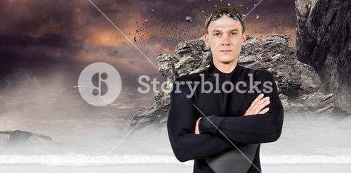 Composite image of portrait of swimmer in wetsuit