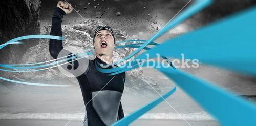 Composite image of swimmer posing after victory