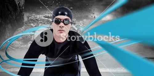 Composite image of confident swimmer in wetsuit