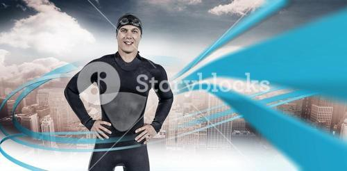 Composite image of portrait of confident swimmer in wetsuit
