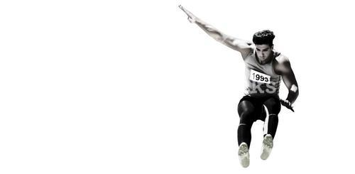 Sportsman jumping on a white background
