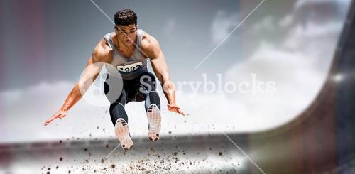 Composite image of front view of sportsman is jumping