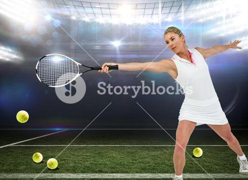 Composite image of athlete playing tennis with a racket