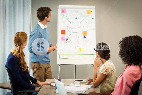 Coworkers discussing on white board
