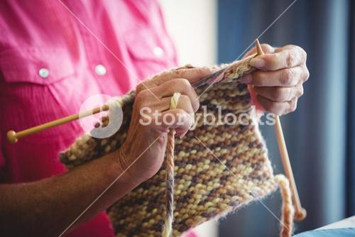 Close-up of someone doing knitting