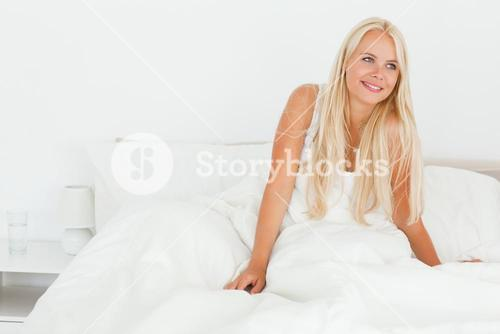 Lovely woman waking up