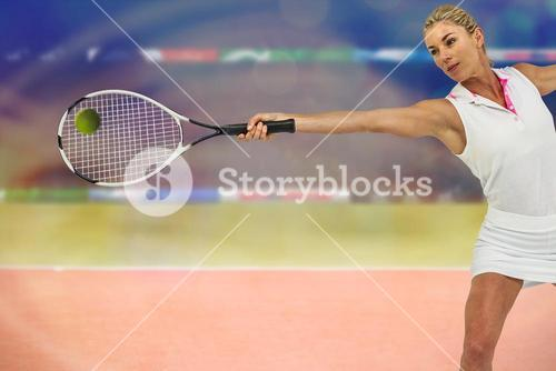 Composite image of athlete is playing tennis
