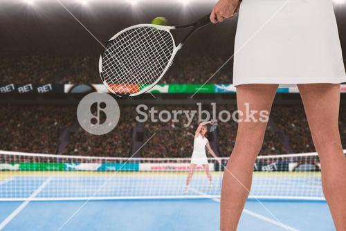 Composite image of athlete playing tennis