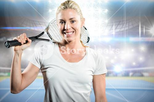 Composite image of portrait of female tennis player posing with racket