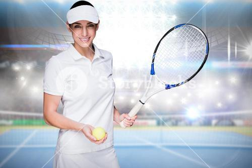Composite image of female athlete holding a tennis racket and ball