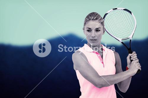 Composite image of sportswoman waiting a tennis ball