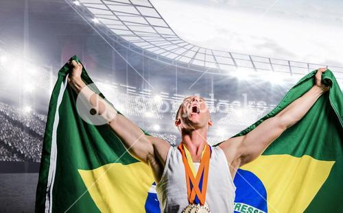 Composite image of athlete posing with gold medals after victory