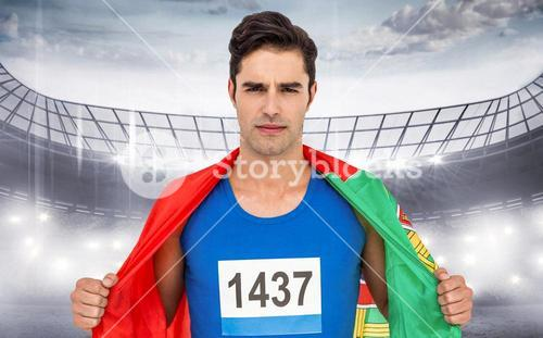 Composite image of athlete with portugal flag wrapped around his body