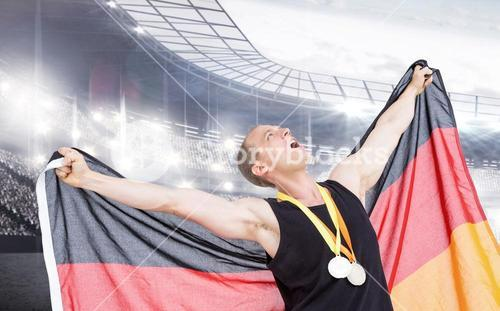 Composite image of athlete posing with olympic gold medals around his neck