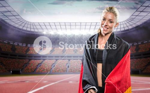 Athlete posing with German flag