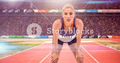 Composite image of tired athlete standing with hand on knee