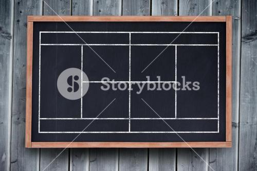 Composite image of sport field plan on a black background