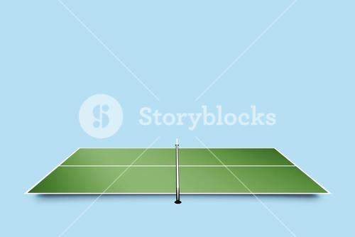 Overhead view of ping pong table
