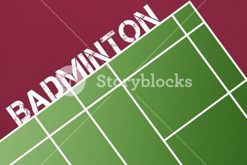 Composite image of badminton message on a white background