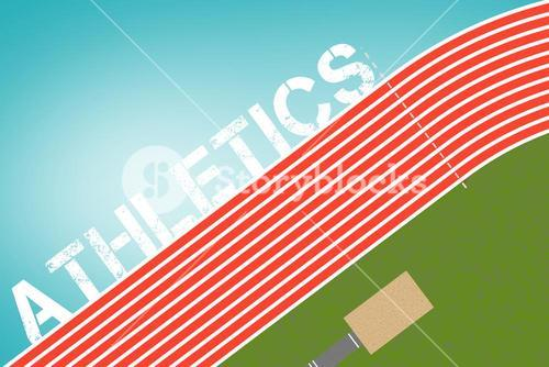Composite image of track and field message on a white background