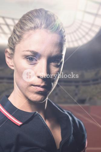 Composite image of portrait of female tennis player