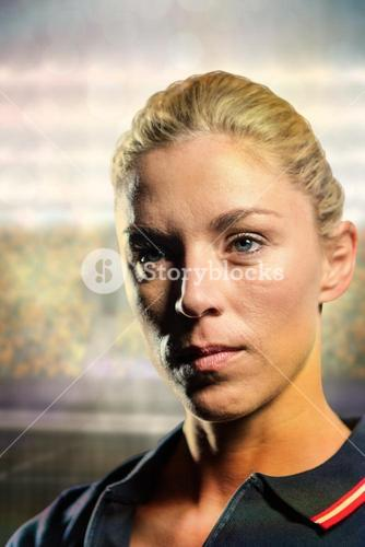 Composite image of close-up of female tennis player