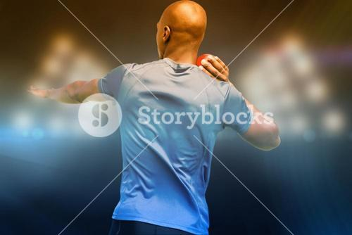 Composite image of rear view of sportsman is practising shot put
