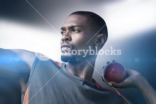 Composite image of portrait of sportsman practising shot put