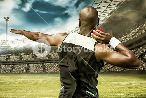 Composite image of rear view sportsman practising shot put
