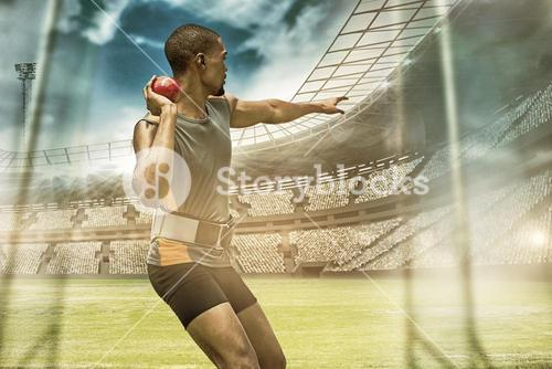Composite image of rear view of sportsman practising shot put