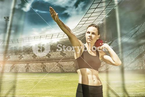 Composite image of sportswoman practising the shot put