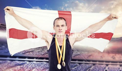 Composite image of athlete with olympic gold medal around his neck