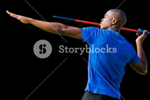 Composite image of profile view of sportsman practising javelin throw