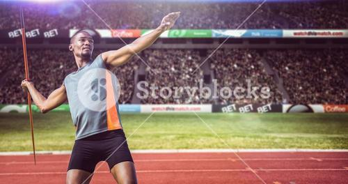 Composite image of sportsman practising the javelin throw