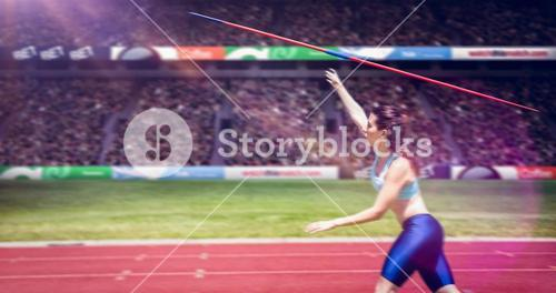 Composite image of profile view of sportswoman is practising javelin throw