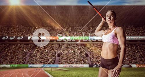 Composite image of female athlete throwing a javelin