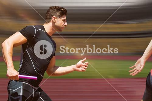 Composite image of athletic man running a relays