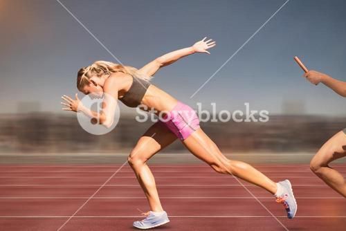 Composite image of sporty woman running on a white background