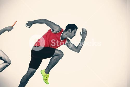 Composite image of confident male athlete running from starting blocks