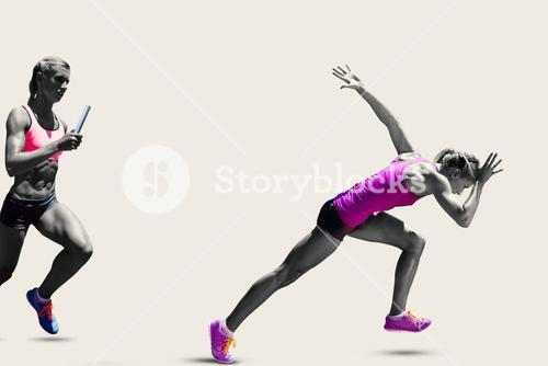 Composite image of athletic woman preparing to run