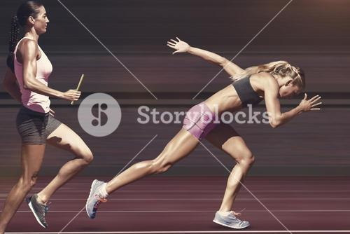 Composite image of sporty woman running