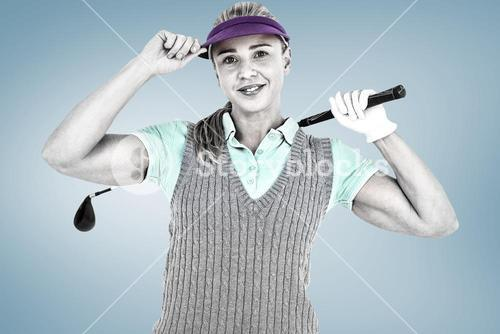 Composite image of pretty blonde playing golf