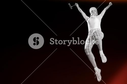 Woman jumping with golf club