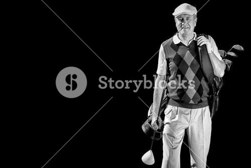 Man with golf equipment