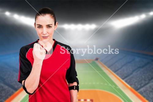 Composite image of female athlete posing with elbow pad