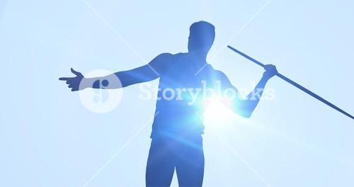 Composite image of rear view of sportsman practising javelin throw