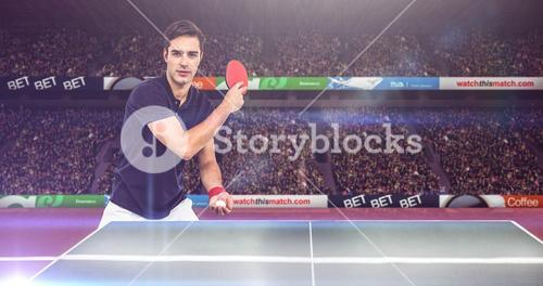 Composite image of confident male athlete playing table tennism