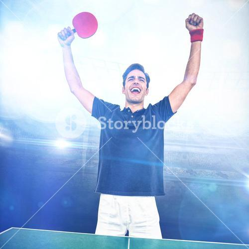 Composite image of happy male athlete posing after victory