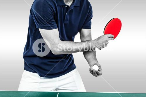 Composite image of mid section of athlete man playing table tennis